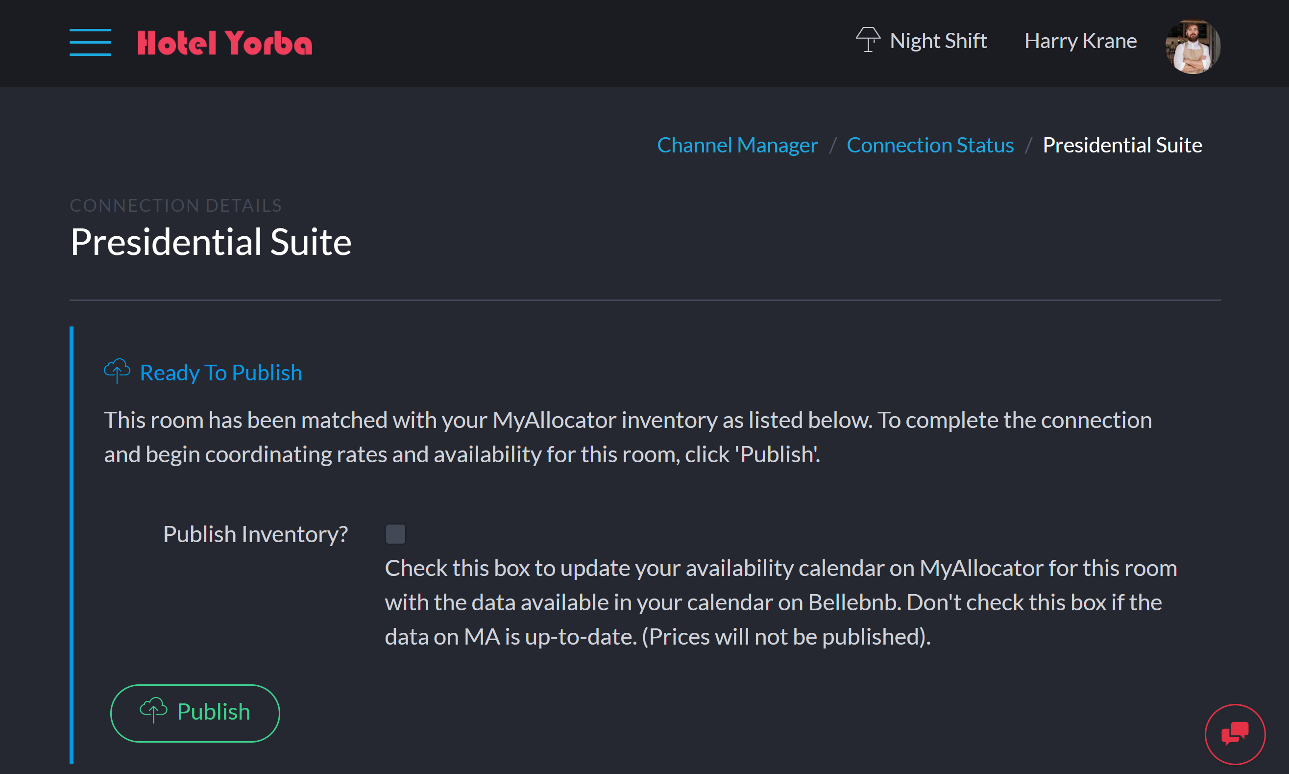 Select this room to complete the connection. Select 'Publish Availability' to publish allocation from your Bellebnb.com Calendar to your MyAllocator Calendar. Do not select if the availability in your MA calendar is correct, as this will overwrite any existing values for this room.