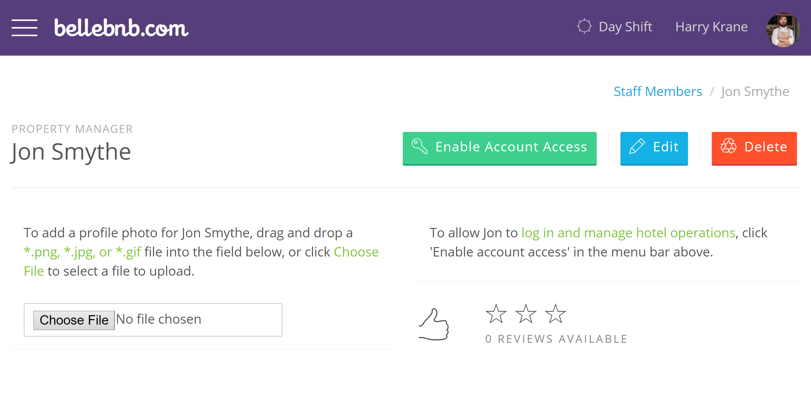 'Enable Account Access' and assign a login email and password for this user. Be sure to use a valid email address in case the user needs to reset their password in the future.