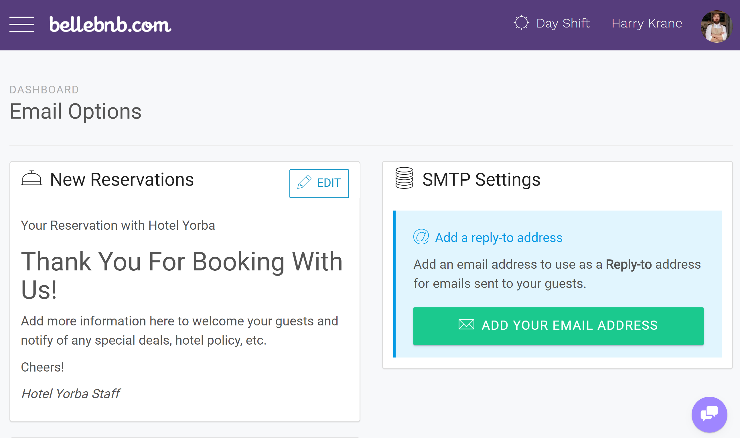 Hotel Management HTML Emails You can now create custom emails for your daily hotel activities. You can create a custom message for new reservations, check-outs, and cancellations. Edit your messages in HTML to send out automatically as part of your bookings flow.