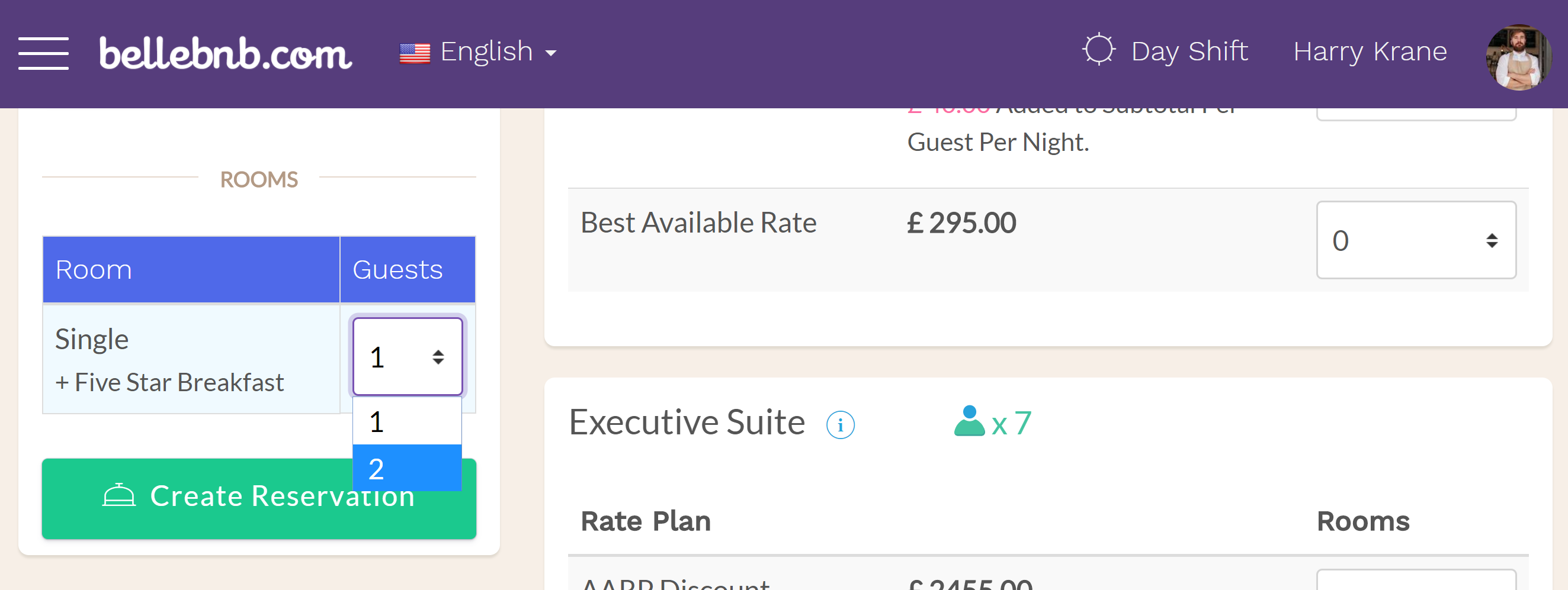 Selecting more than 1 room in the 'Guests/Rooms' menu will allow you to add multiple rooms to a reservation. Using the 'Rooms' dropdown, add rooms to your reservation. If you are using Rate Plans (c.f., FAQ) you will be presented with the available rooms at each available rate.