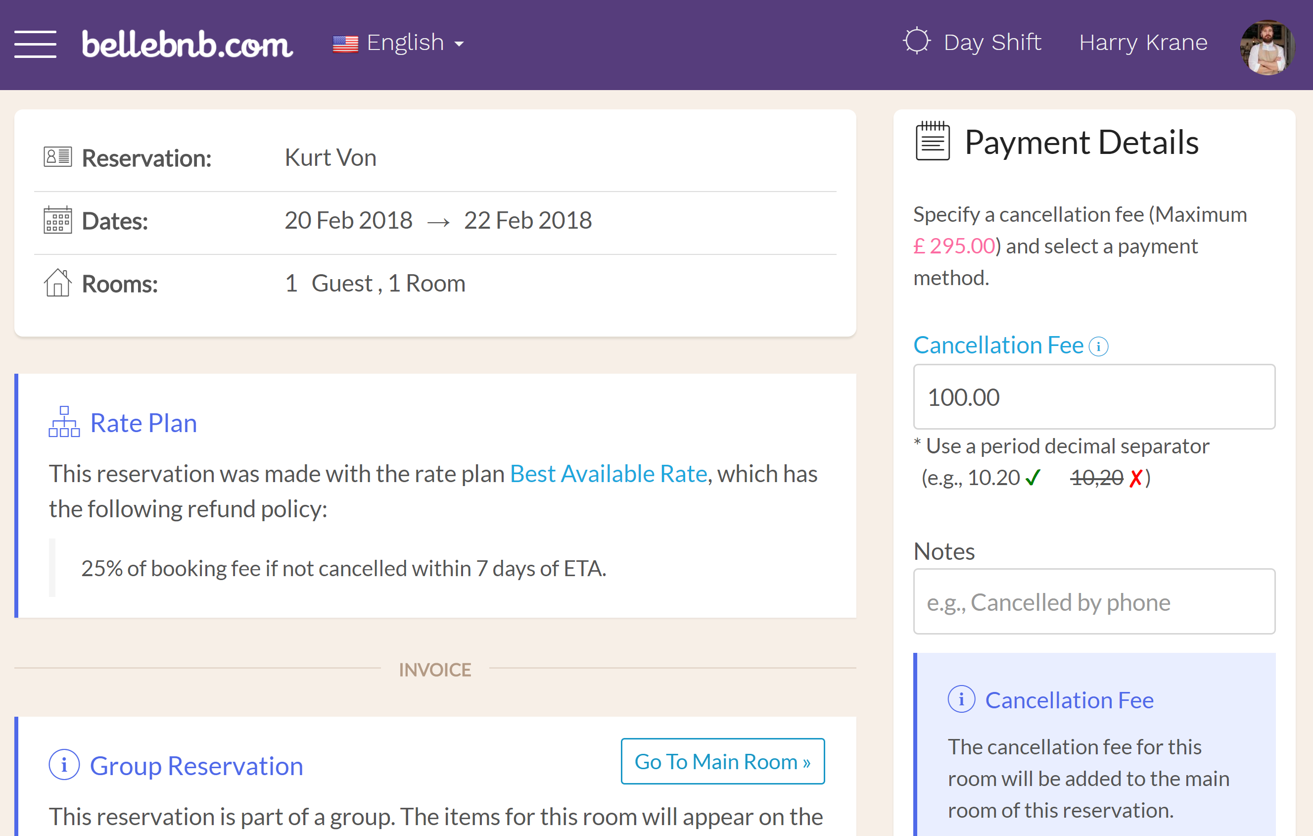 Cancel a Room in a Group To cancel a room in a group, select the booking in your calendar, then go to 'Actions > Cancel this Room.' Enter a cancellation fee, if any, then click to cancel. The cancellation fee for this room will appear on the invoice of the main room for the group.