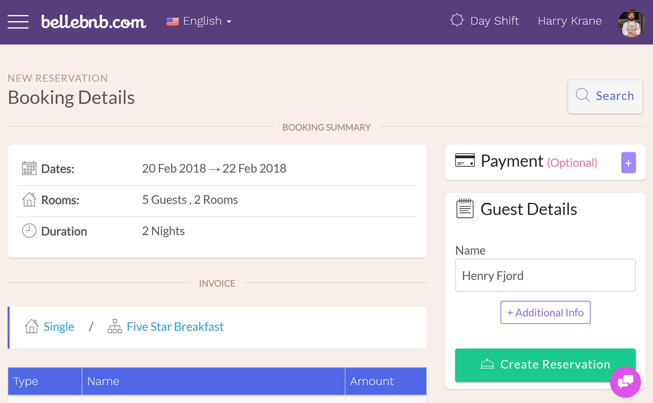 Hotel PMS Software Group Hotel Bookings review booking details