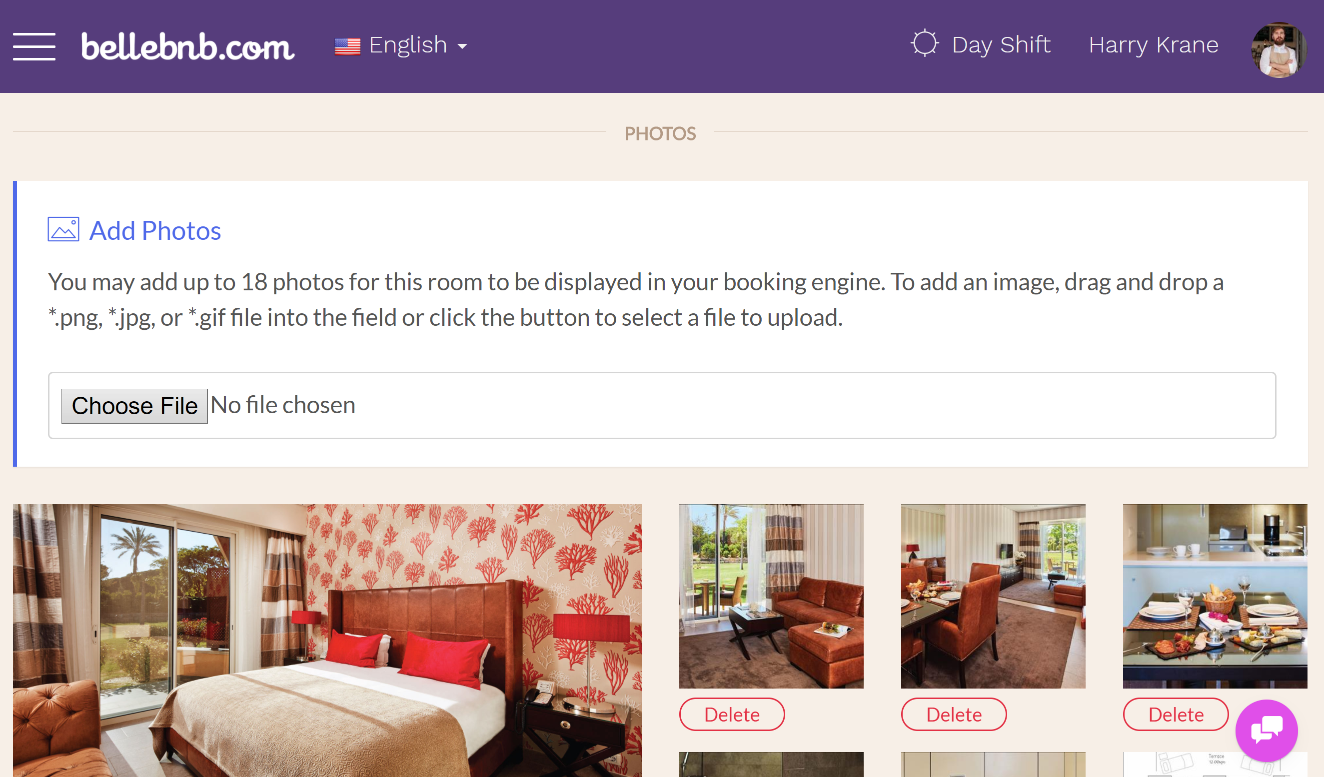 Add photos for your room types. Even more important than descriptions, guess want to see what their room will look like. You can add up to 25 photos for each room type, and you should add at leas 5 attractive photos to entice guests to book with you.