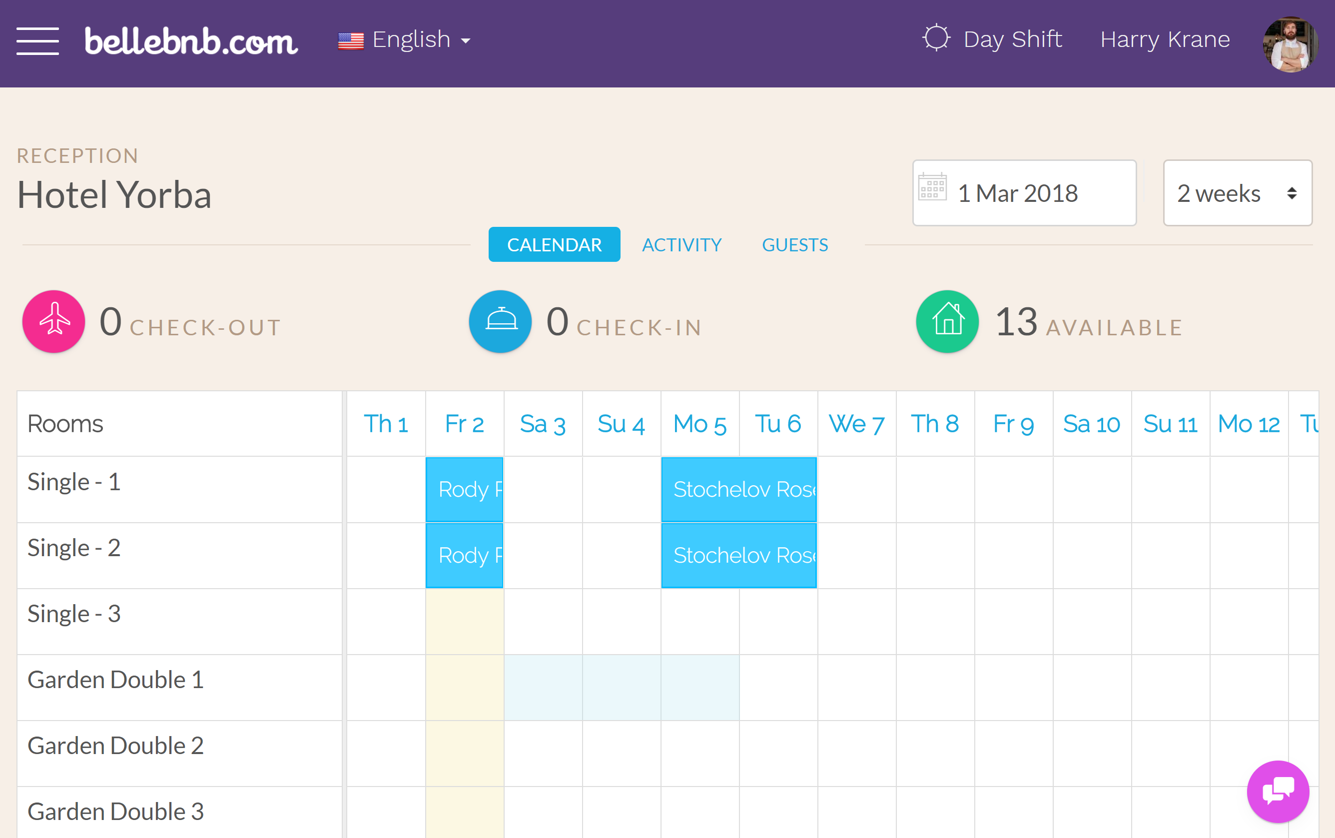 Hotel PMS Software bookings calendar