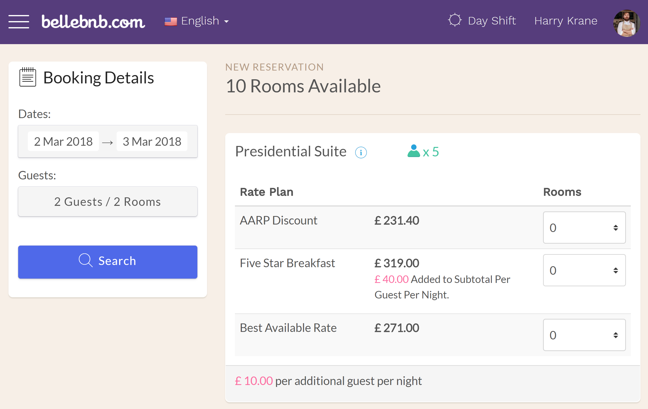 Hotel PMS Software To price a room per-guest