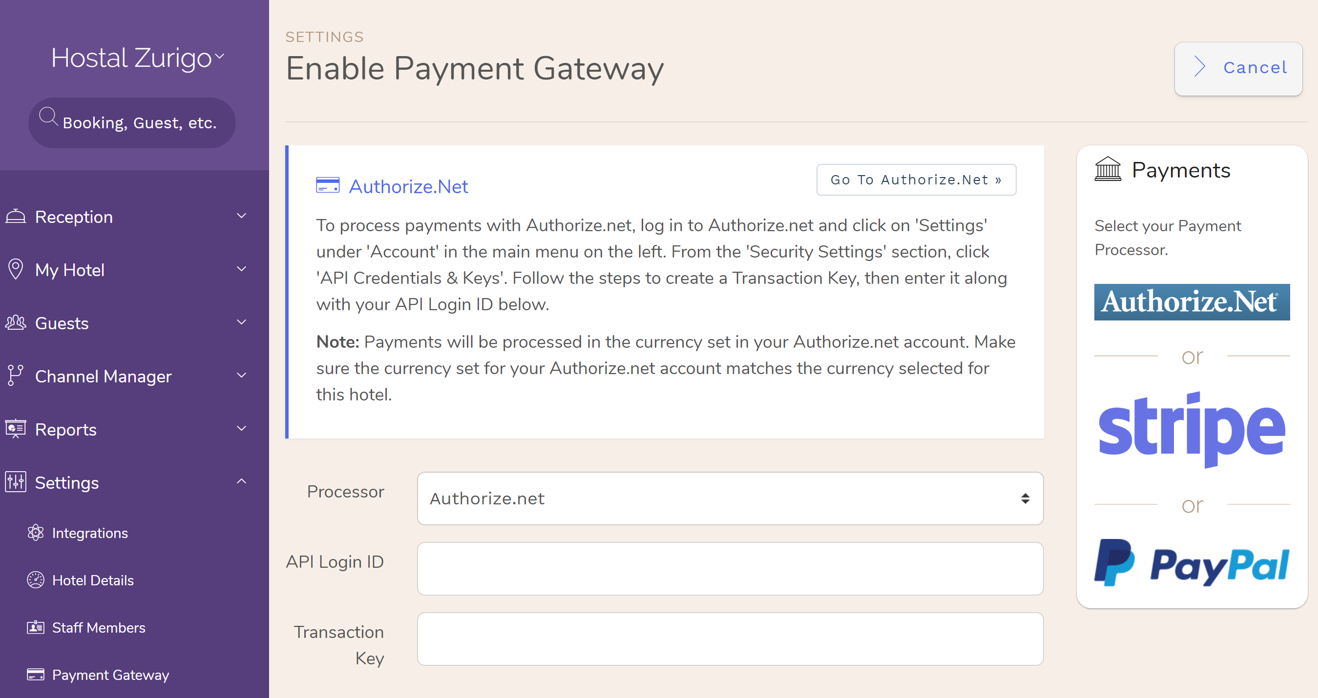 Authorize.net is now available as a Hotel payment processor. Hotel PMS Software