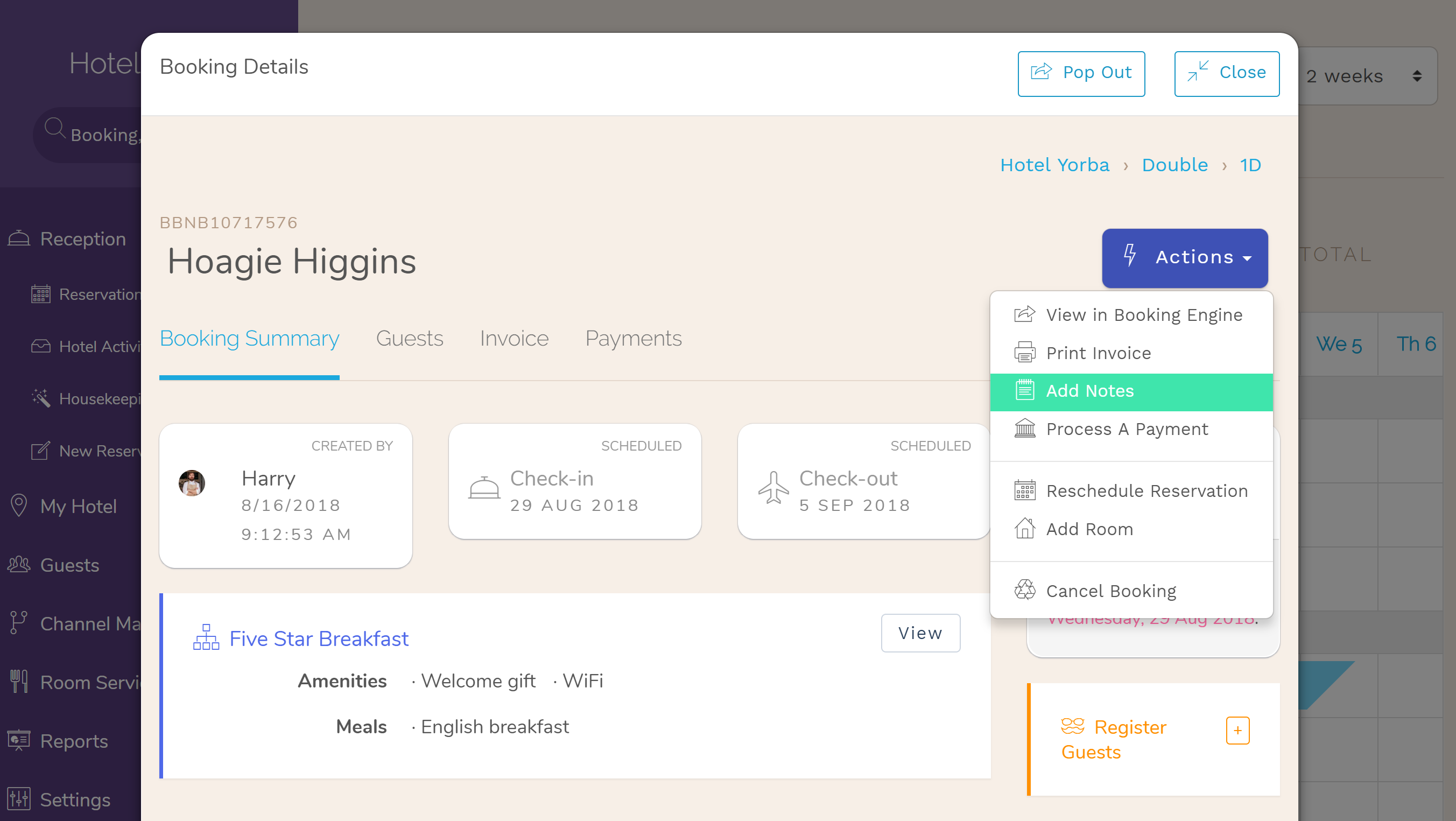 Hotel Booking notes are finally editable! If the booking already includes a note Hotel PMS Software