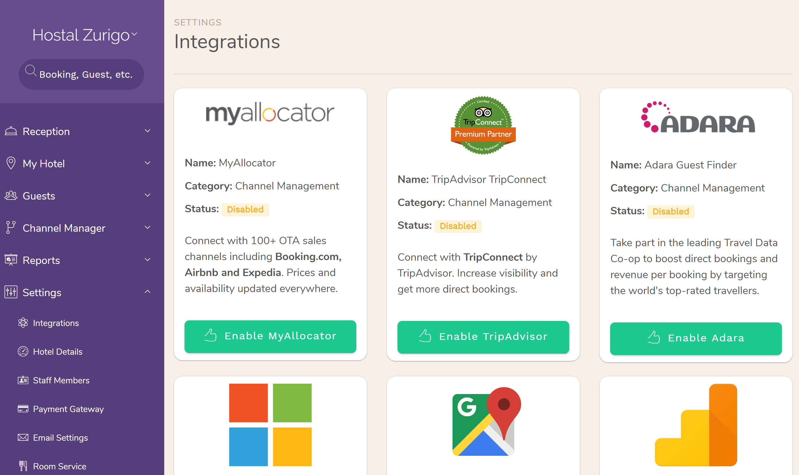Hotel PMS Software integrations available with our platform. The available integrations are found throughout the application, each in their corresponding place. For example, TripAdvisor connectivity is under 'Channel Manager > OTA Connections.