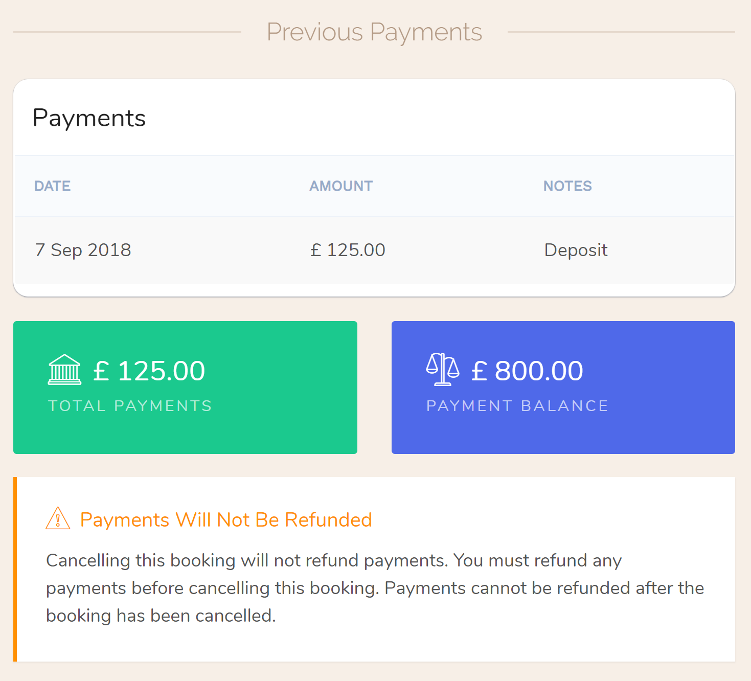 Payments are not refunded when a booking is cancelled or deleted, and refunds can only be processed while the booking is active. Refunds are not available once a booking has been checked out or cancelled (i.e., the booking has been closed out). If you need to cancel a booking and return a payment, make sure you refund any payments BEFORE you cancel the booking, Hotel PMS Software