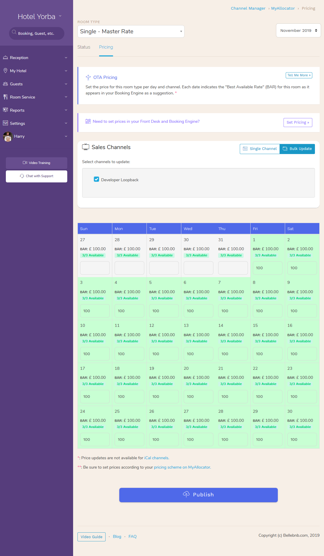 Hotel PMS Software Calendar update booking.com