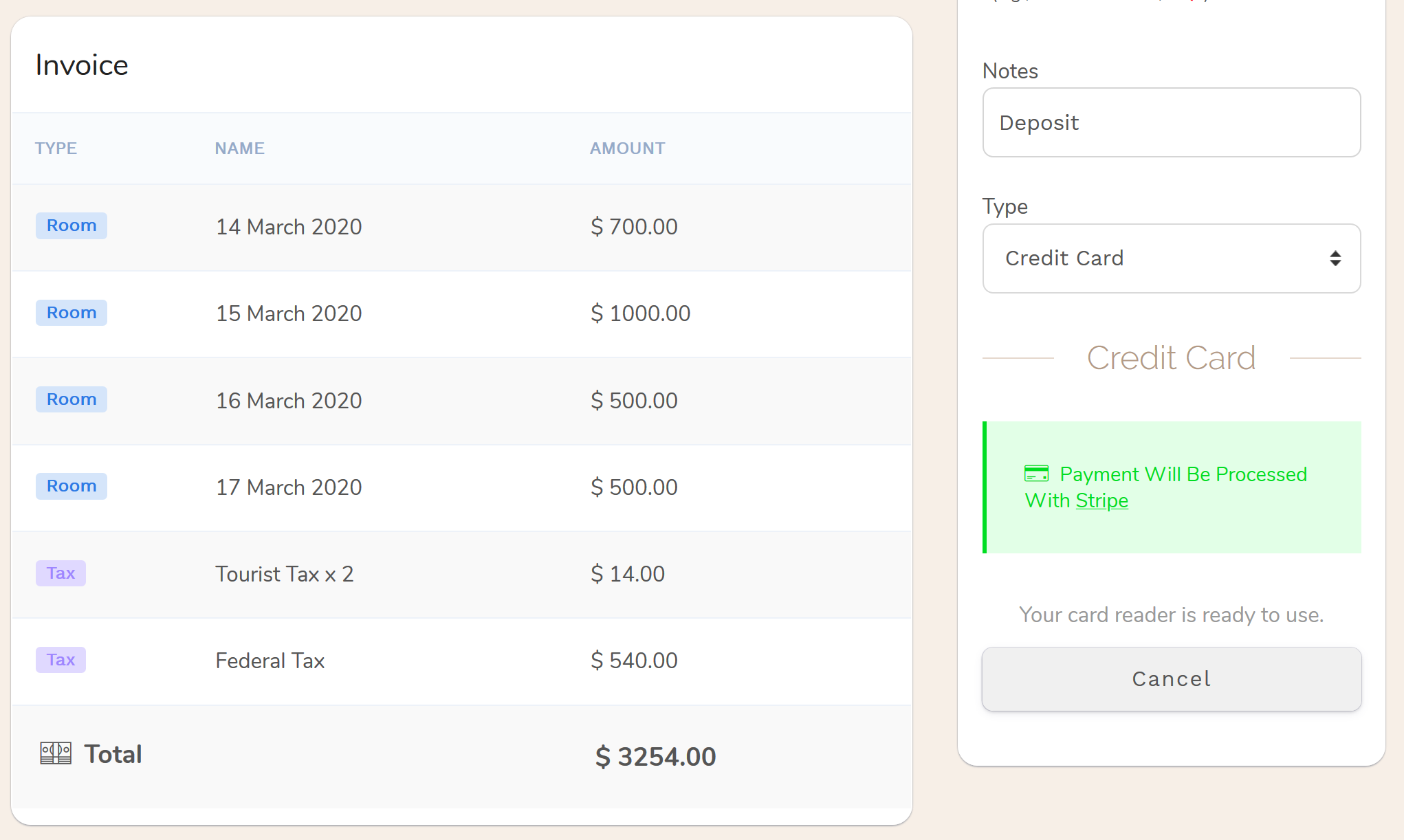 Step 4: Accepting in-person Hotel reservations payments