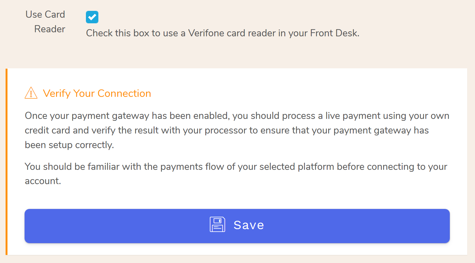 How to Enable the Verifone reader in your Bellebnb Front