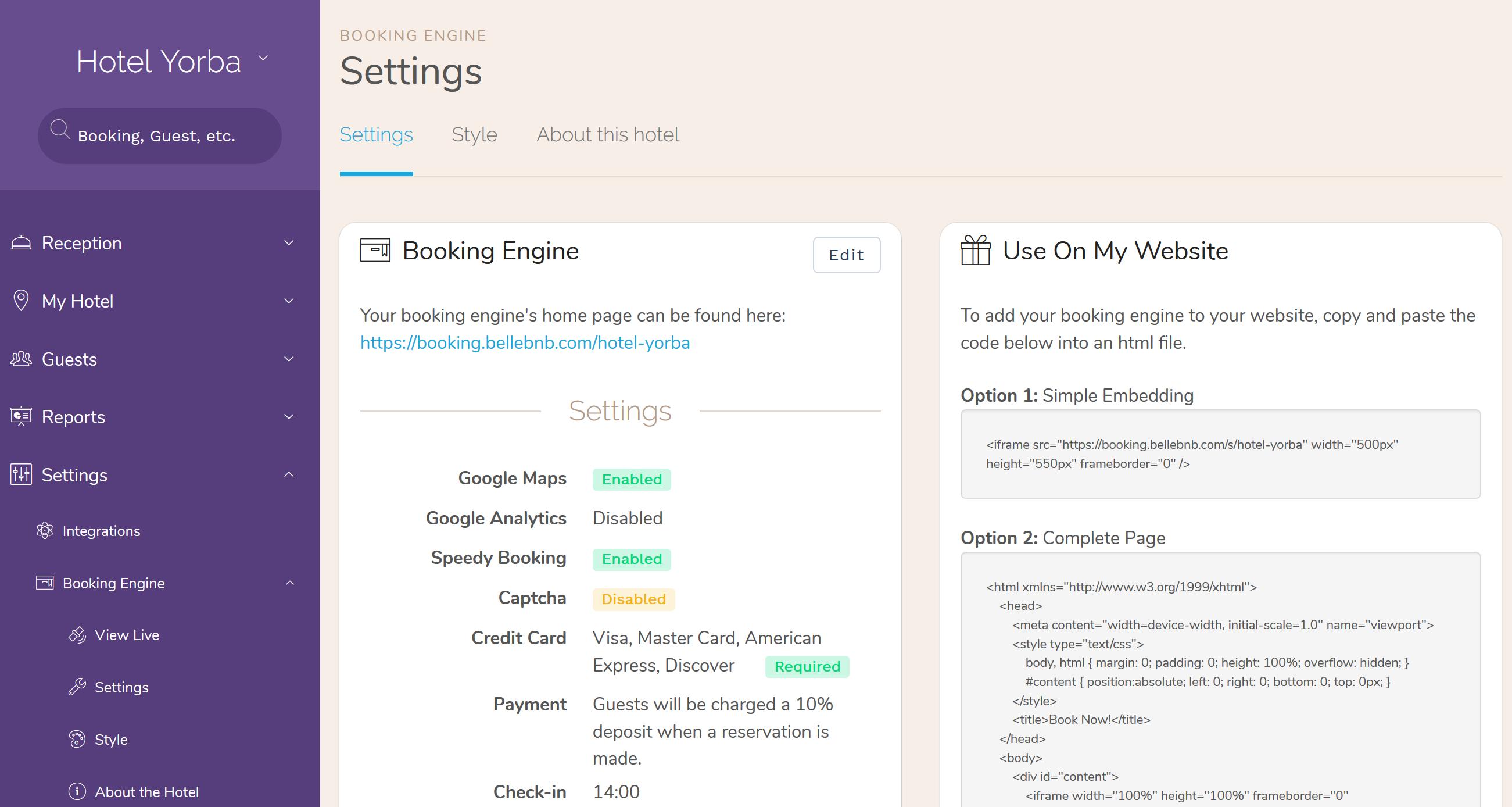 You now have Speedy Bookings enabled in your Booking Engine.