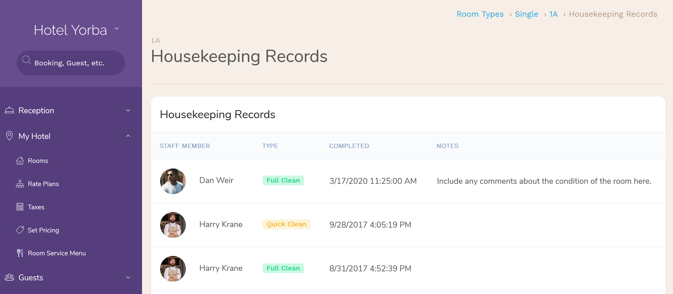 On the room details page, click 'View Hotel Housekeeping Records' to view the full history for this room. Here you have the full housekeeping history for this room.