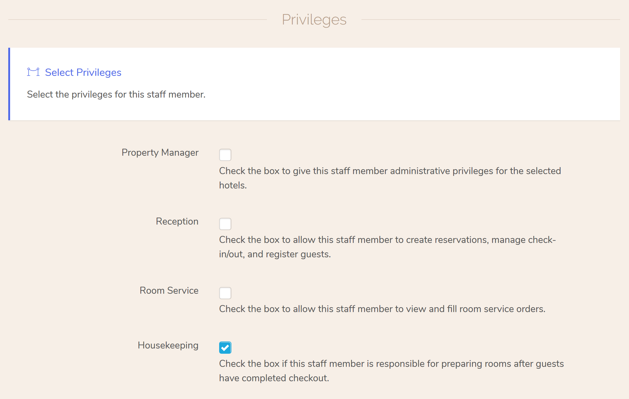 Housekeeping'. You                     can assign multiple roles to users, but for this tutorial,                     we'll keep it to just housekeeping