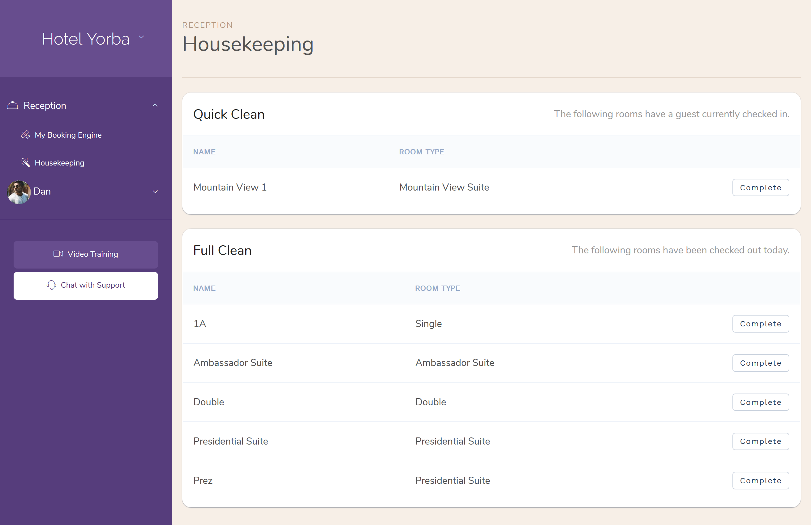 Hotel Housekeeping Users who are assigned only 'Housekeeping' access will see                     only a limited portion of the Front Desk application that                     they need to complete their task.