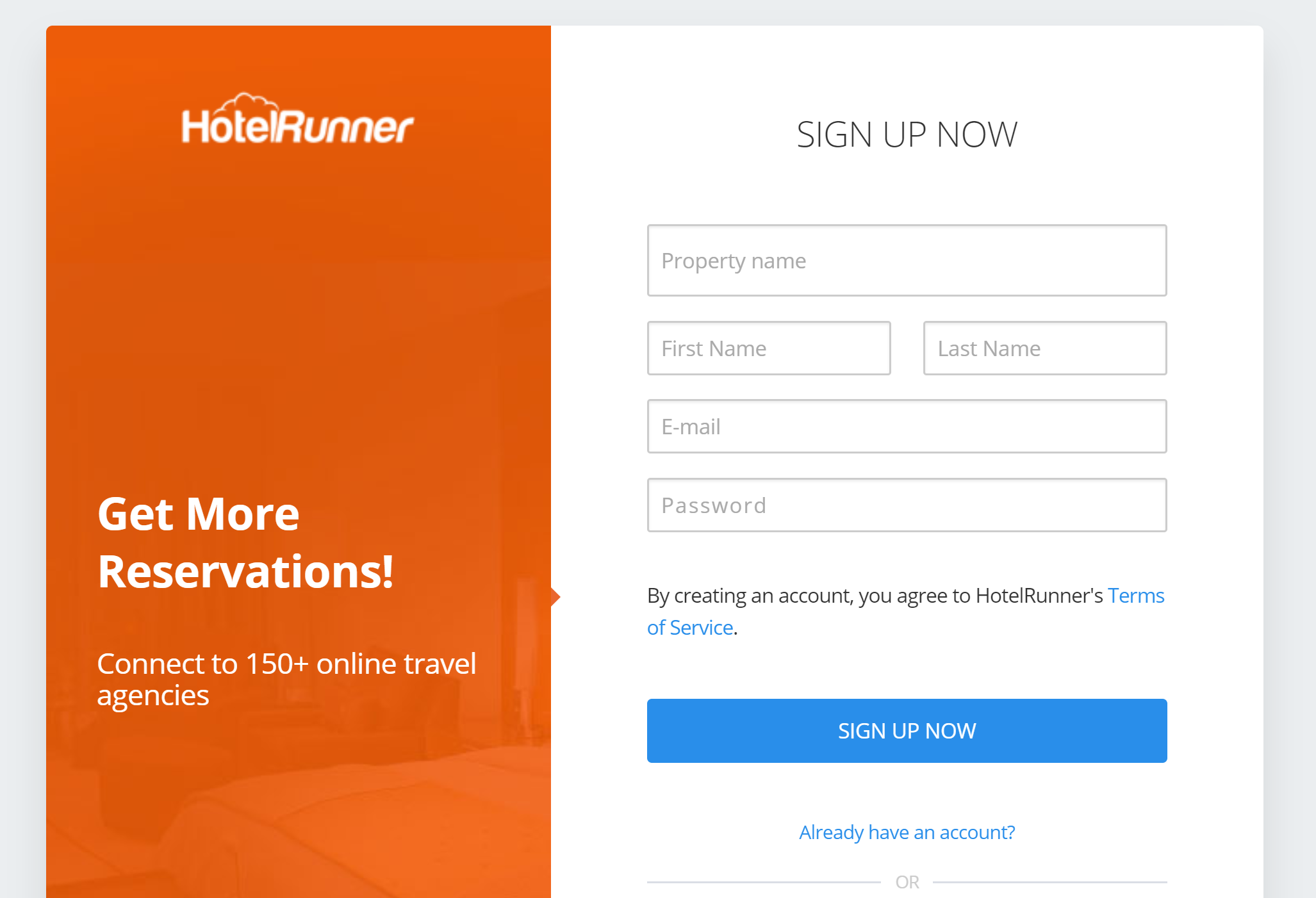 How to create an account HotelRunner.com