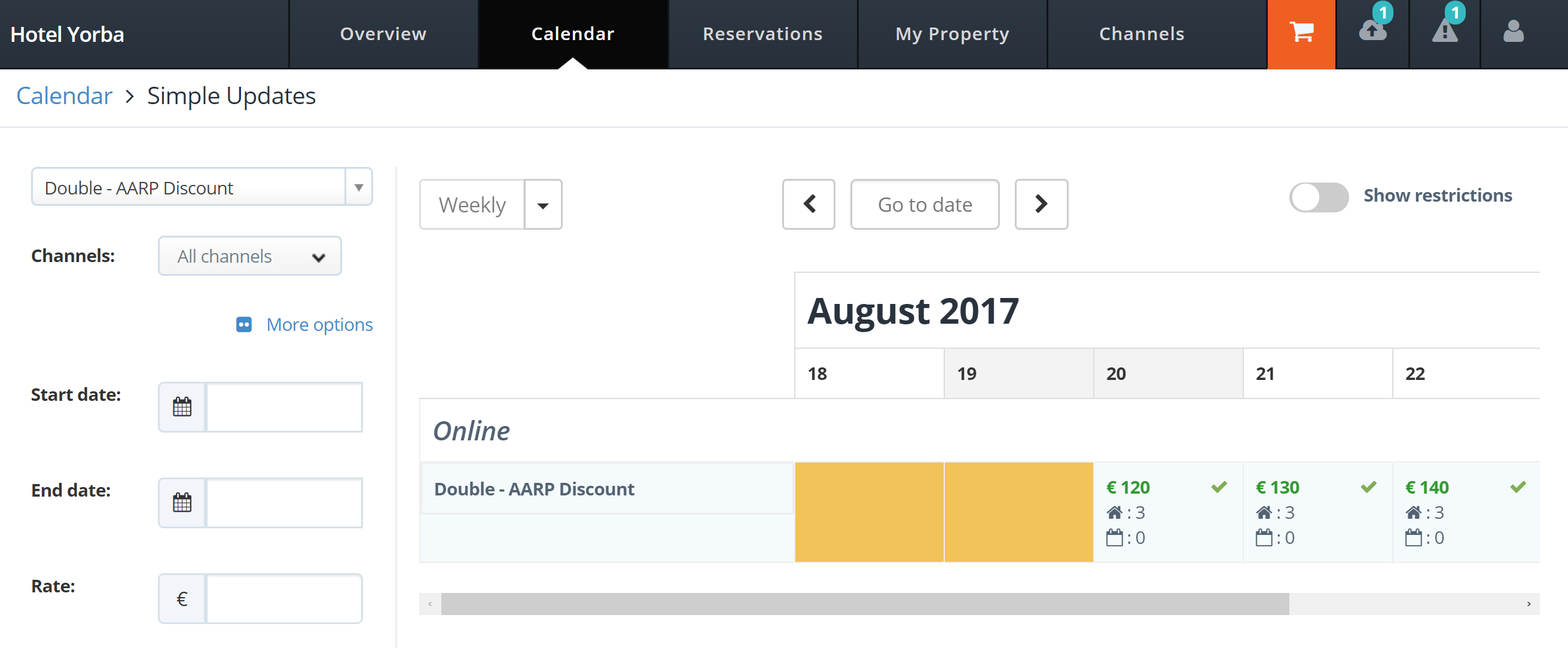 Managing calendar in MyHotelCRS.com.com calendar