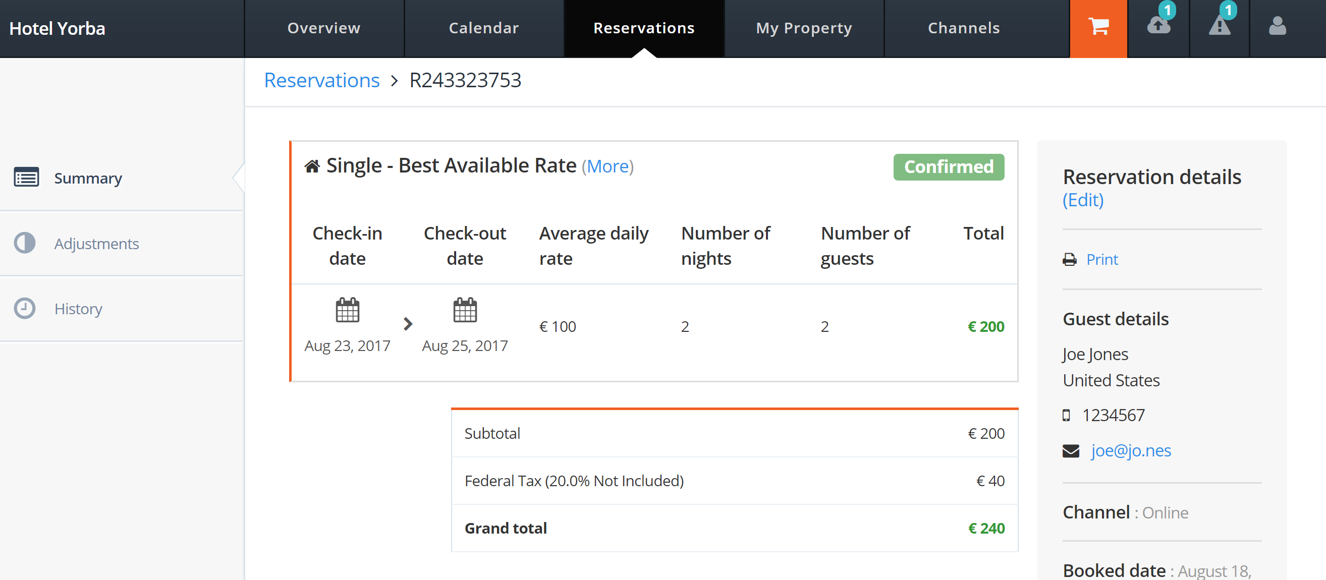 Hotelrunner.com Click 'view' to view the details for the new reservation booking updated to 'Confirmed' in HotelRunner's portal