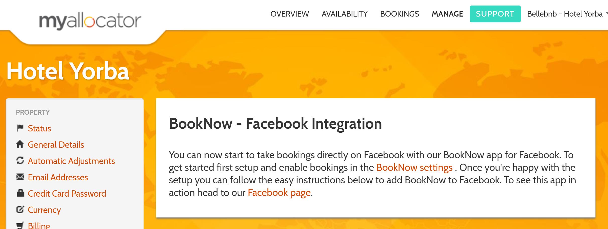Ενσωμάτωση μέσω Facebook Μπορείτε να δεχτείτε κρατήσεις απευθείας από τη σελίδα του ξενοδοχείου στο Facebook χρησιμοποιώντας ένα από τα γραφικά στοιχεία ενσωμάτωσης που διατίθενται μέσω του διαχειριστή καναλιών. Η προσθήκη ενός γραφικού στοιχείου κράτησης μπορεί να γίνει σε μερικά βήματα και όλες οι κρατήσεις σας που εισέρχονται μέσω της σελίδας σας στο Facebook είναι δωρεάν