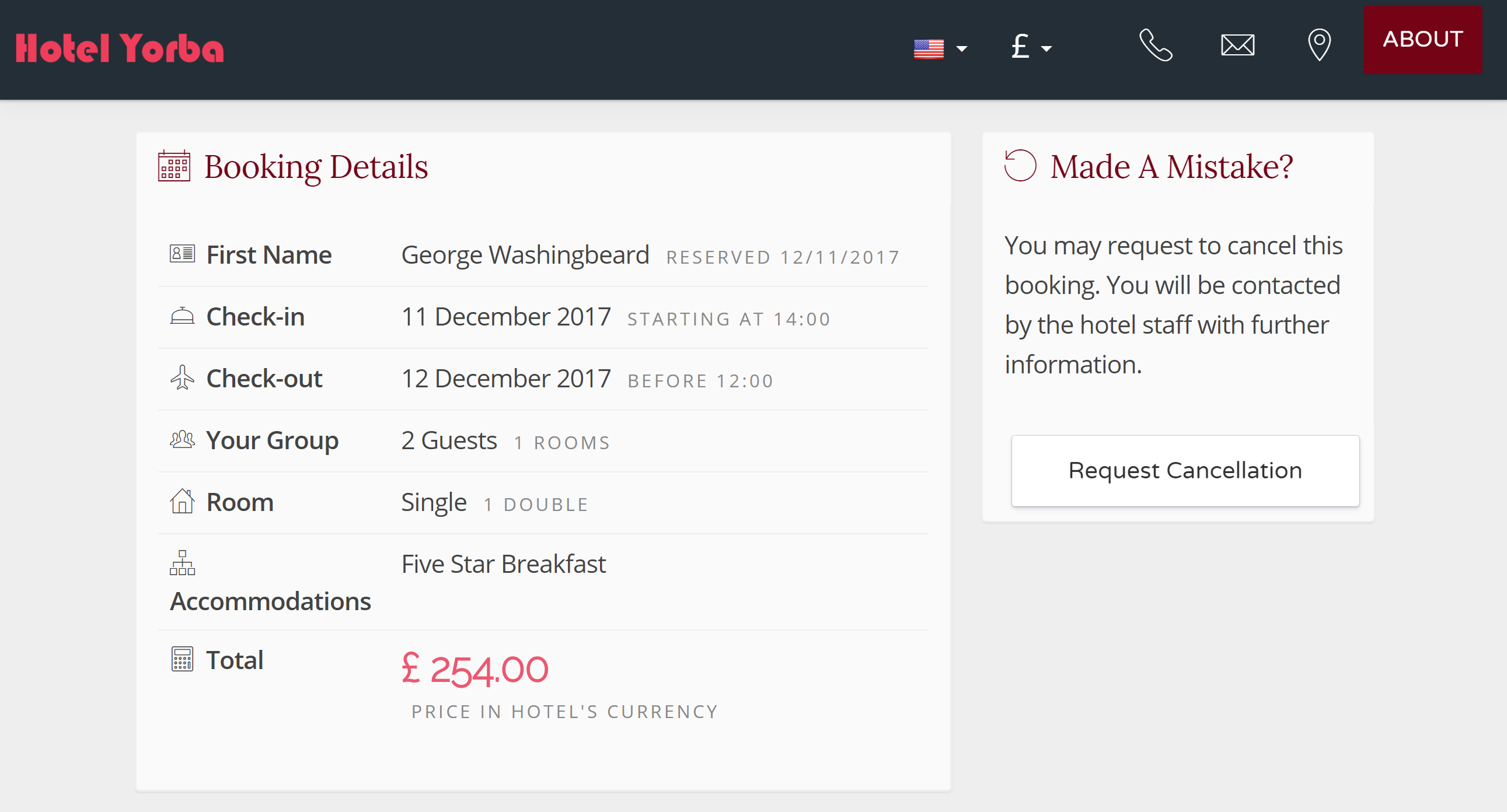 Here you see the electronic invoice available to your guests, and you should receive a confirmation email. You guests can access your room service menu, messaging, and review services from this page once they check-in/out. More on this in Section IV.
