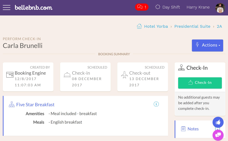 ' カーラ Brunelli ' のホテル予約をクリックしてください。あなたはこの予約はまだホテルにチェックインされていないが表示されます。