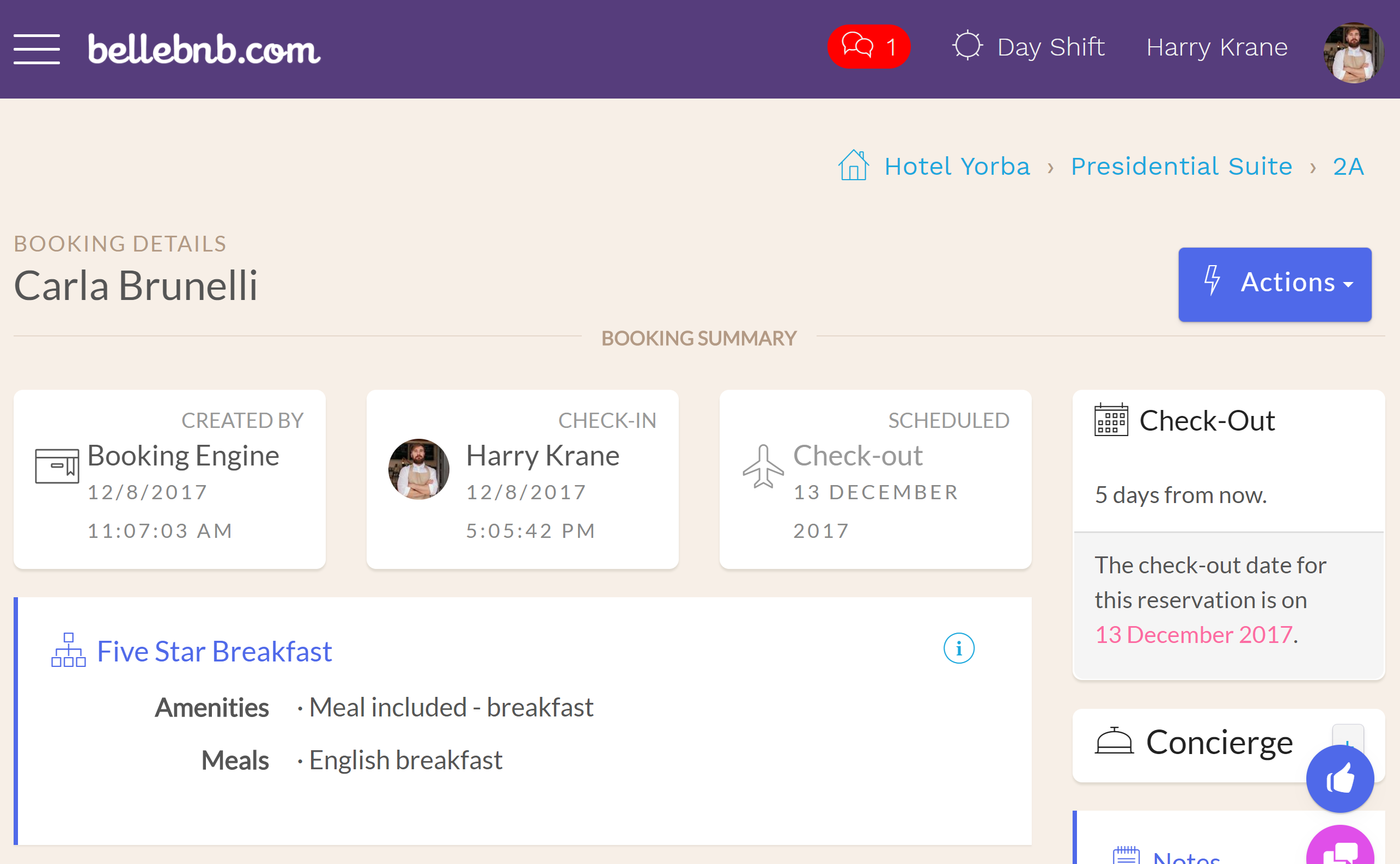 Next, click 'Check-in' (or 'Actions > Check In') to complete check-in. You will see the reservation has turned green in your calendar to indicate it has been checked in, and it's no longer listed as 'Check-in Today' in your Inbox
