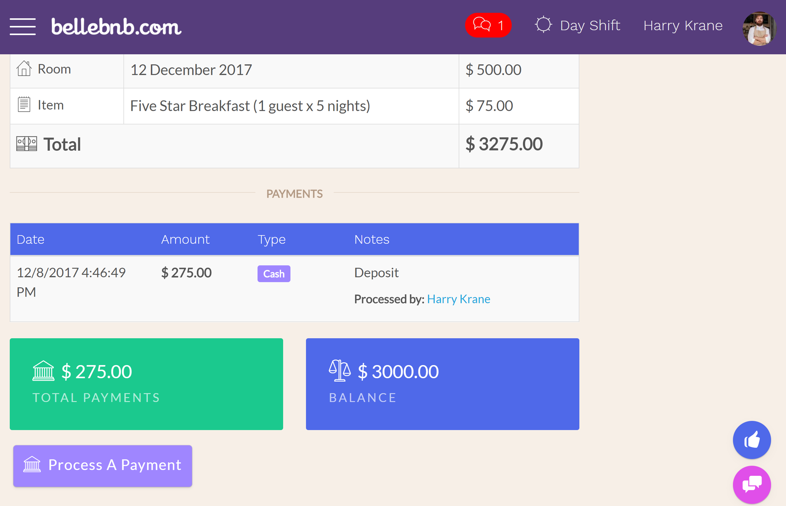 Bevor Sie diesen Gast einchecken, lassen Sie uns eine Zahlung bearbeiten. Klicken Sie auf Aktionen> Zahlung bearbeiten, geben Sie einen Betrag für eine Einzahlung ein (nicht mehr als die Summe), und klicken Sie auf, um die Zahlung zu bearbeiten..