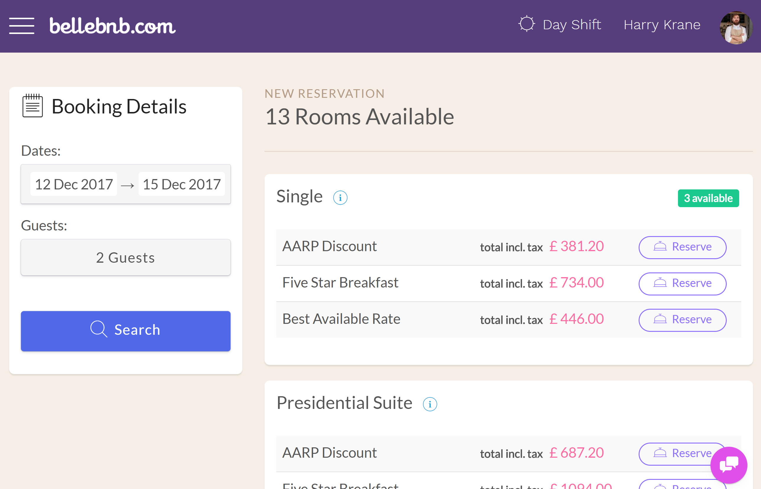 This method is very convenient because you can book an exact room, and you don't have to leave your calendar. The drawback is you only see the price for the selected room. Sometimes a guest will call in and expect several options to be offered