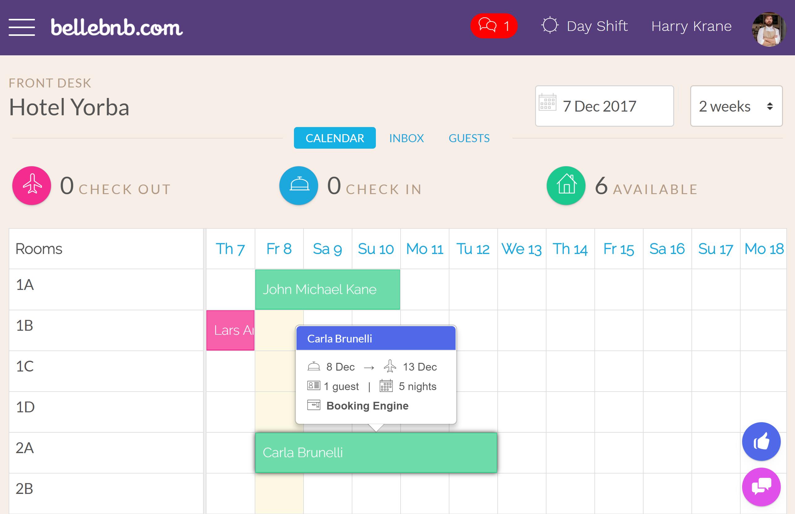 次に、チェックインを完了するには、チェックイン (またはアクション > チェックイン) をクリックします。あなたは、それがチェックインされたことを示すために、あなたのカレンダーで緑色になっている予約が表示されます、そして、それは、あなたの Inbox で今日のチェックとしてリストアップされなくなりました。