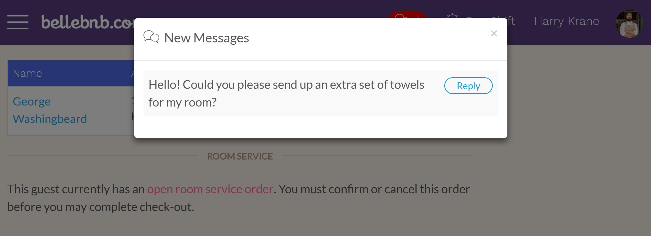次に、予約エンジンの請求書に戻り、クリックしてインスタントメッセージを表示し、フロントデスクの新しいメッセージを入力します ([送信] をクリックします)。フロントデスクマネージャーに戻り、ナビゲーションバーに [新着メッセージ] インジケーターが表示されるまで1分待ちます。