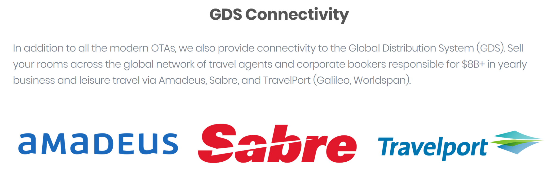 Hotel Global Distribution System | Hotel GDS Connectivity via Amadeus, Sabre, and TravelPort (Galileo, Worldspan).
