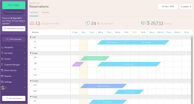 Programa de Gestión para Casas Rurales. for Booking Hotel PMS Reservations Calendar Software.