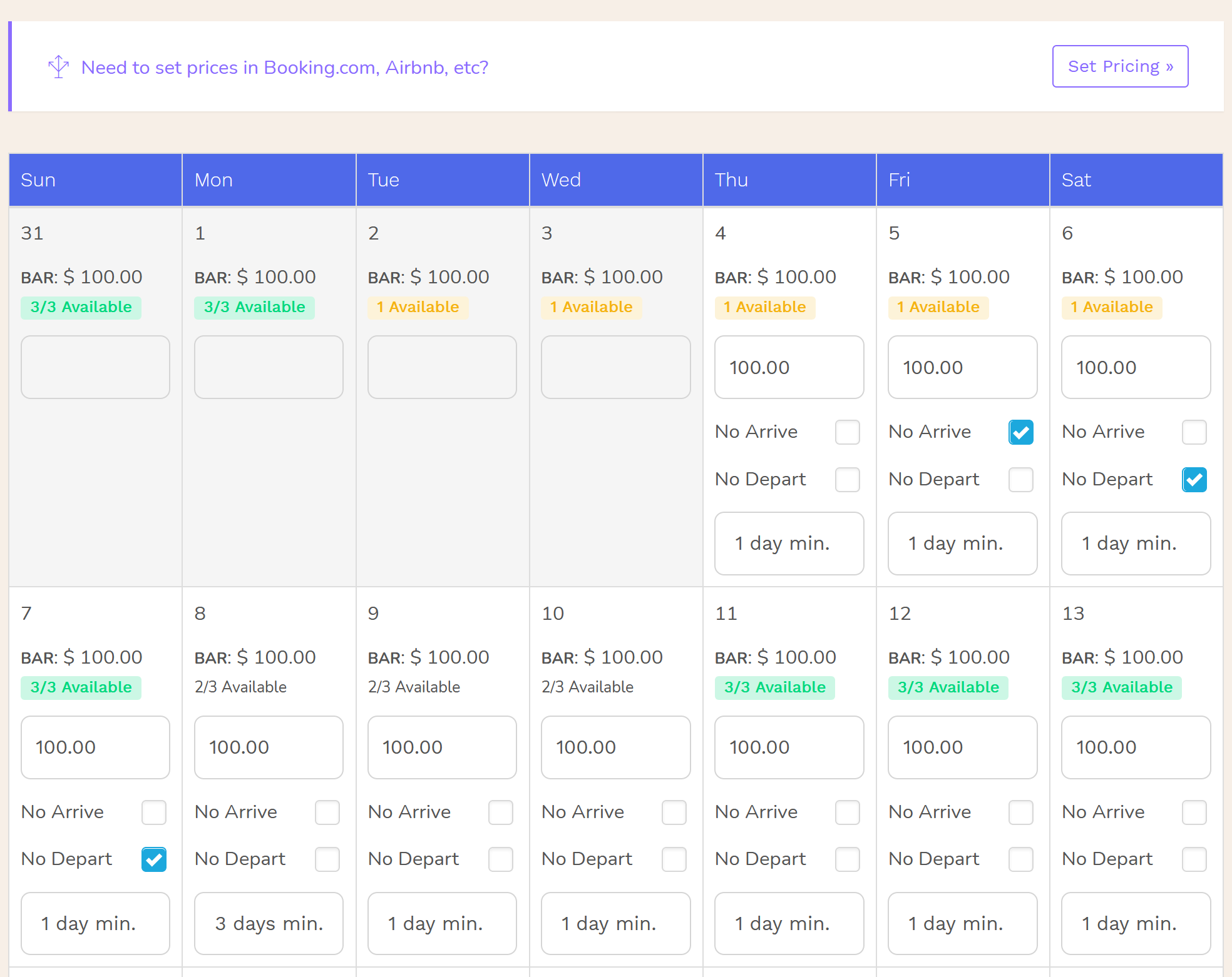 Hotel PMS Software Calendar Closed to Arrival/Departure and Minimum Stay