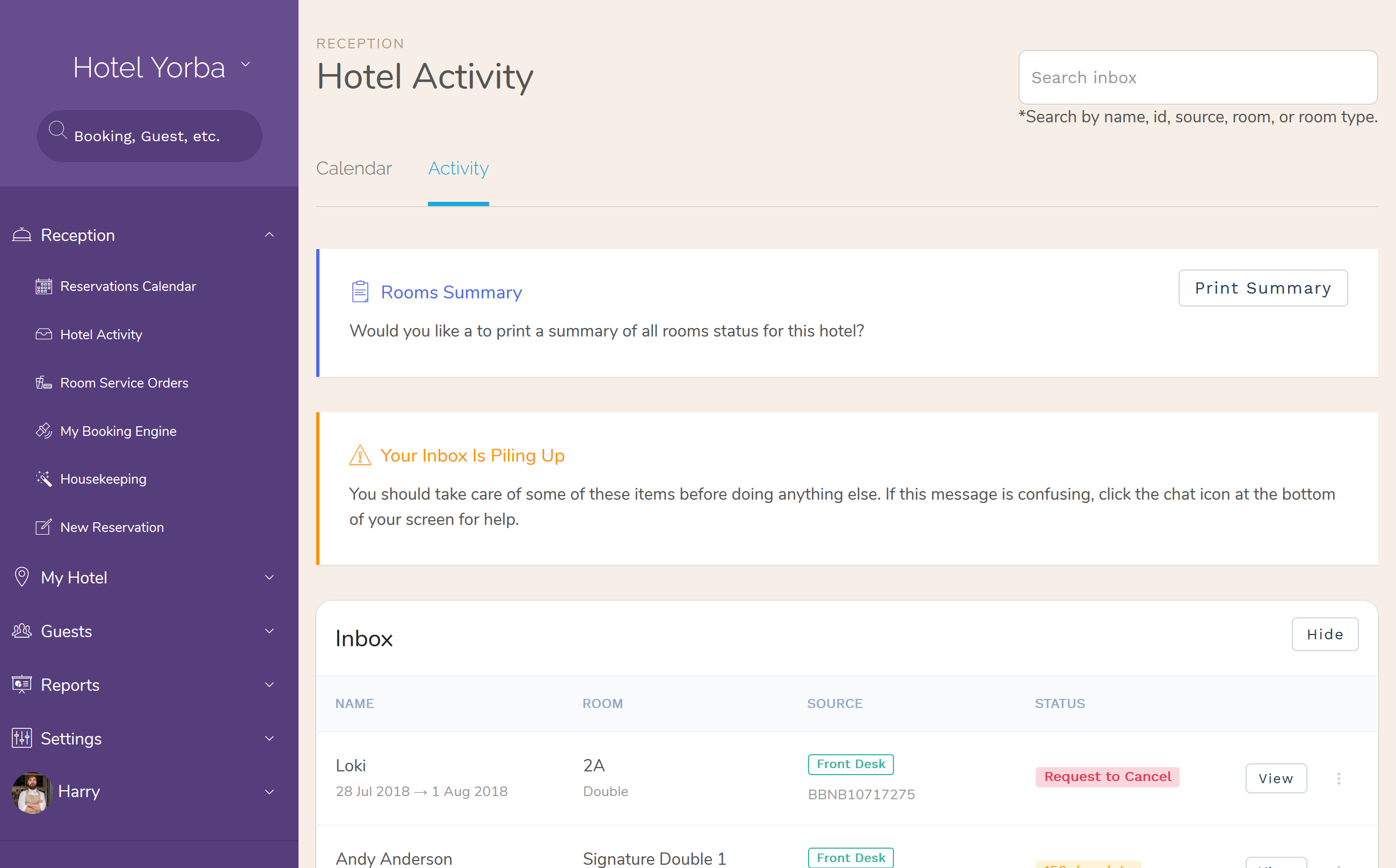 Rooms Blocks Activity for Hotel PMS Software