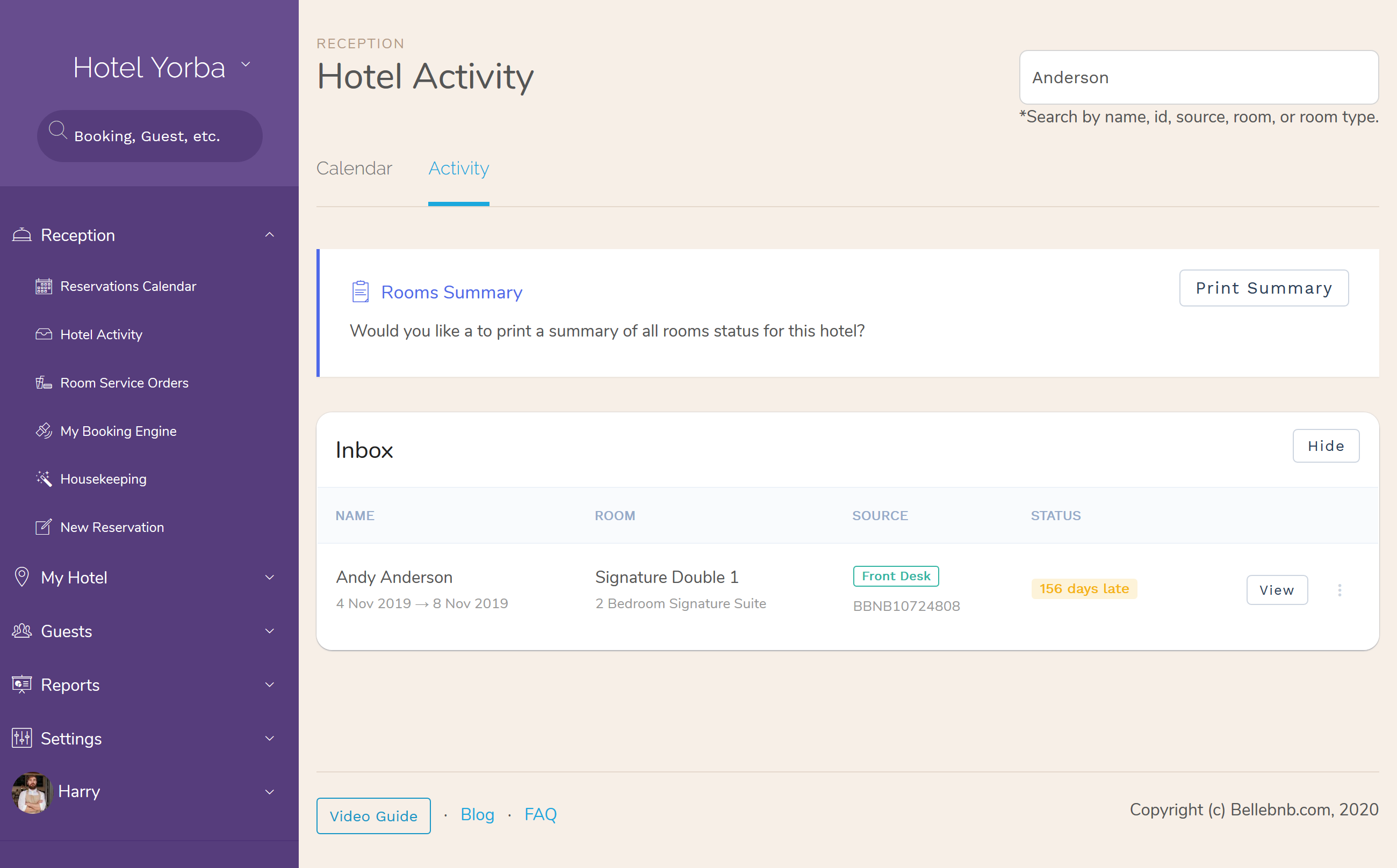 Hotel PMS Software how to Rooms Blocks Activity