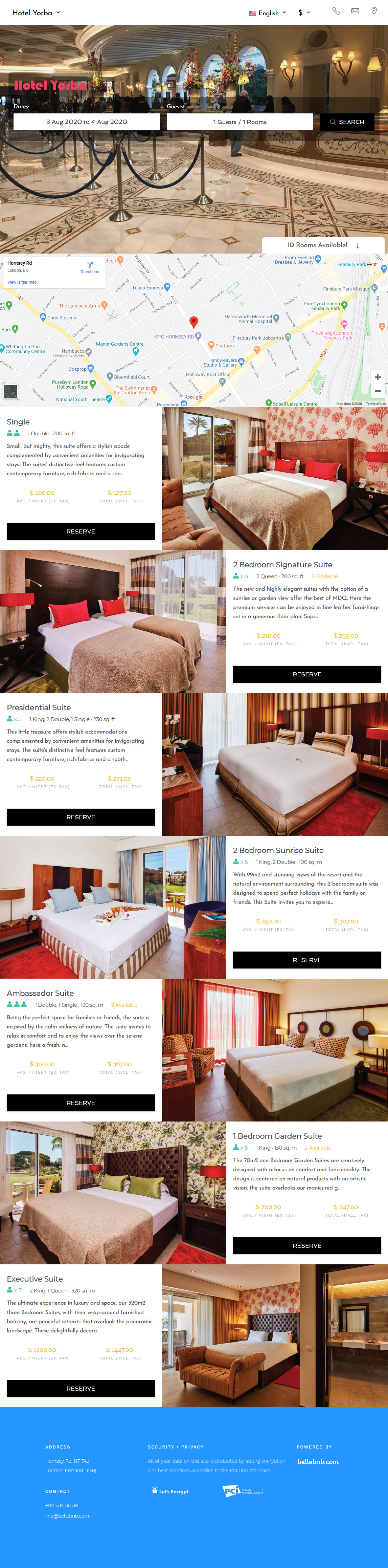 Hotel WebSite design and hosting with White Label Direct Booking Engine.