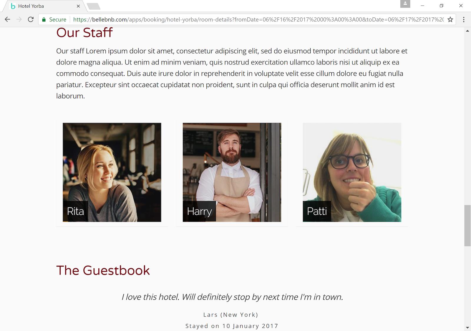 Hotel Booking Engine Staff