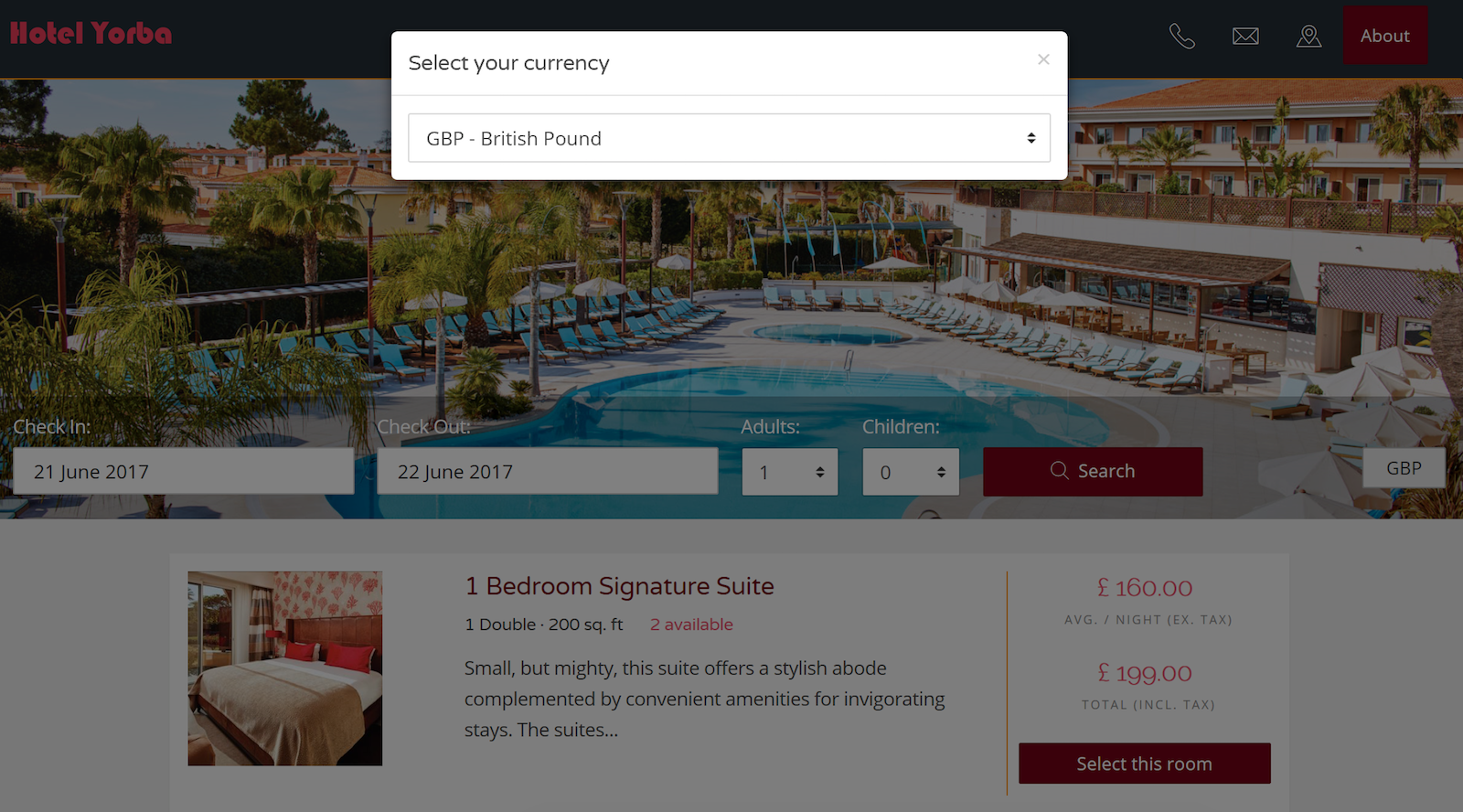 Hotel Live Currency Conversion