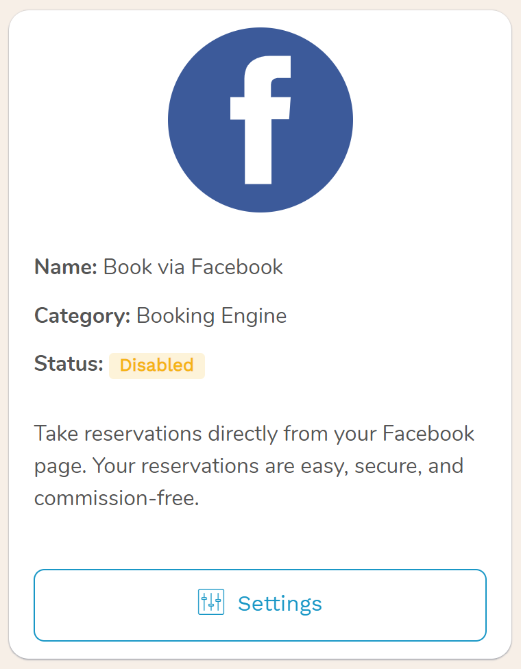 Facebook booking engine for your Hotel Facebook page, Facebook Integration You can accept reservations directly from your hotel's Facebook page using one of the embedding widgets available through our channel manager.