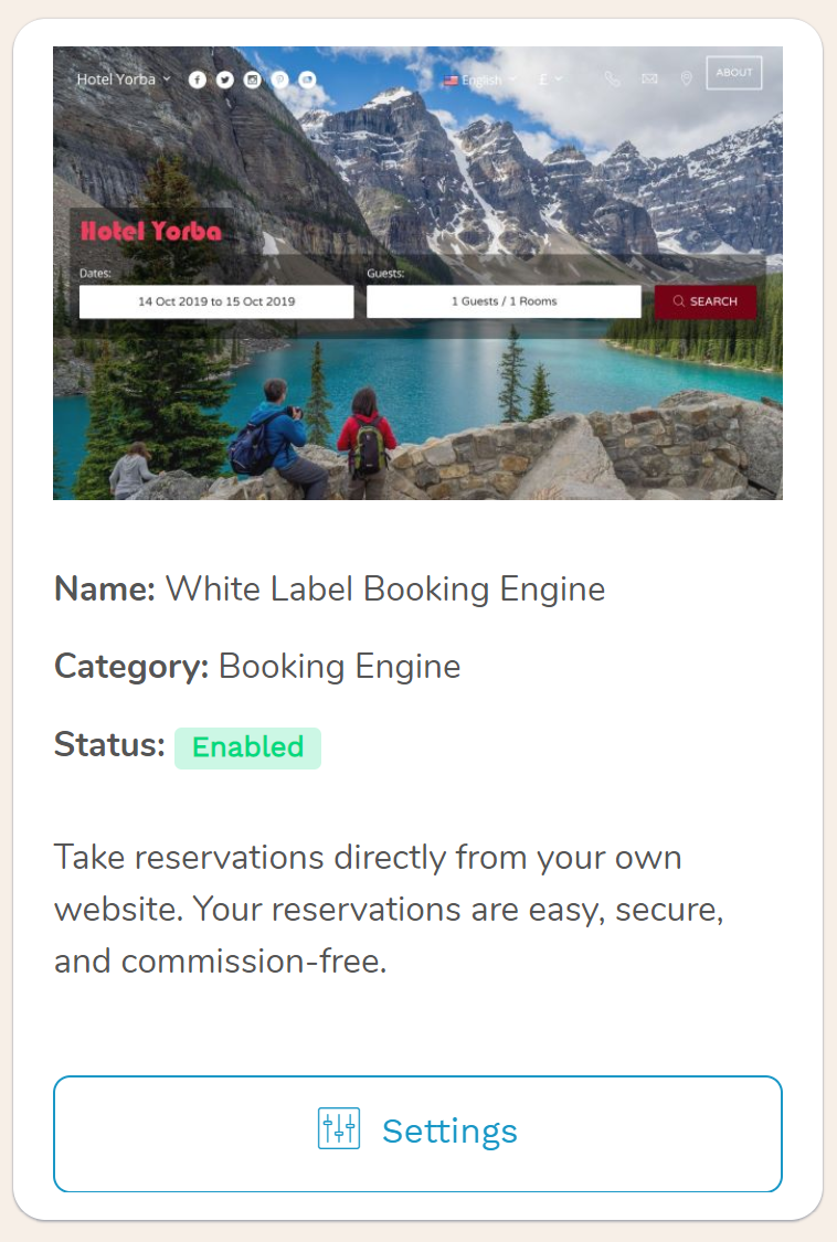 White Label Hotel Booking Engine     Open your doors to the global marketplace. Your hotel website is ready to accept bookings from any device in real time, securely process Credit Card payments and pay zero commissions