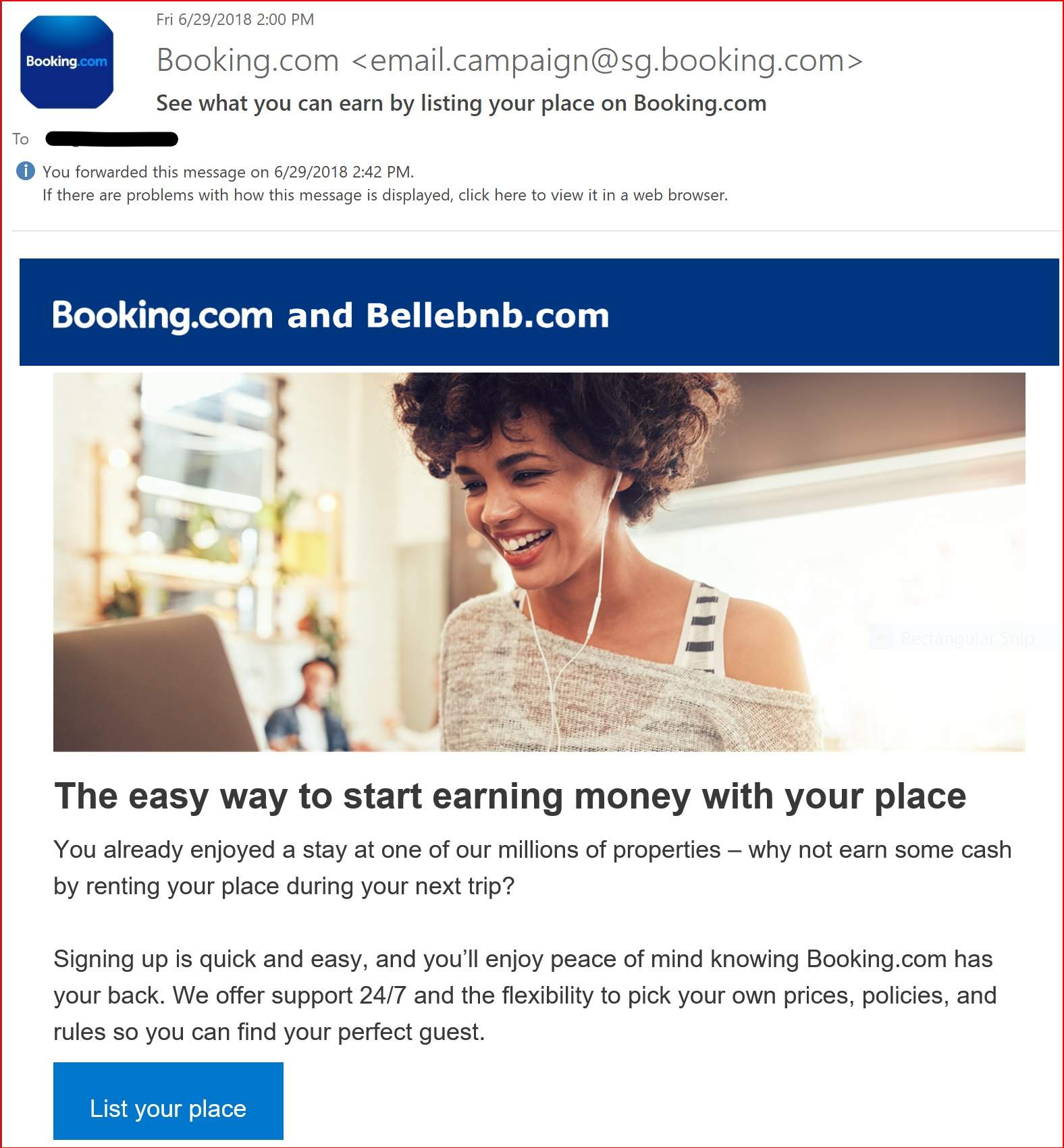 List your place on Booking.com by Bellebnb.com See what you can earn by listing your place on Booking.com. Sign up for free!
