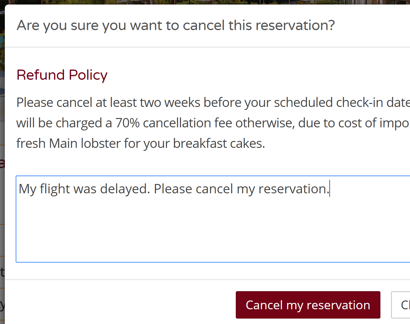 Cancel through the website Hotel booking engine direct Hotel cancellations