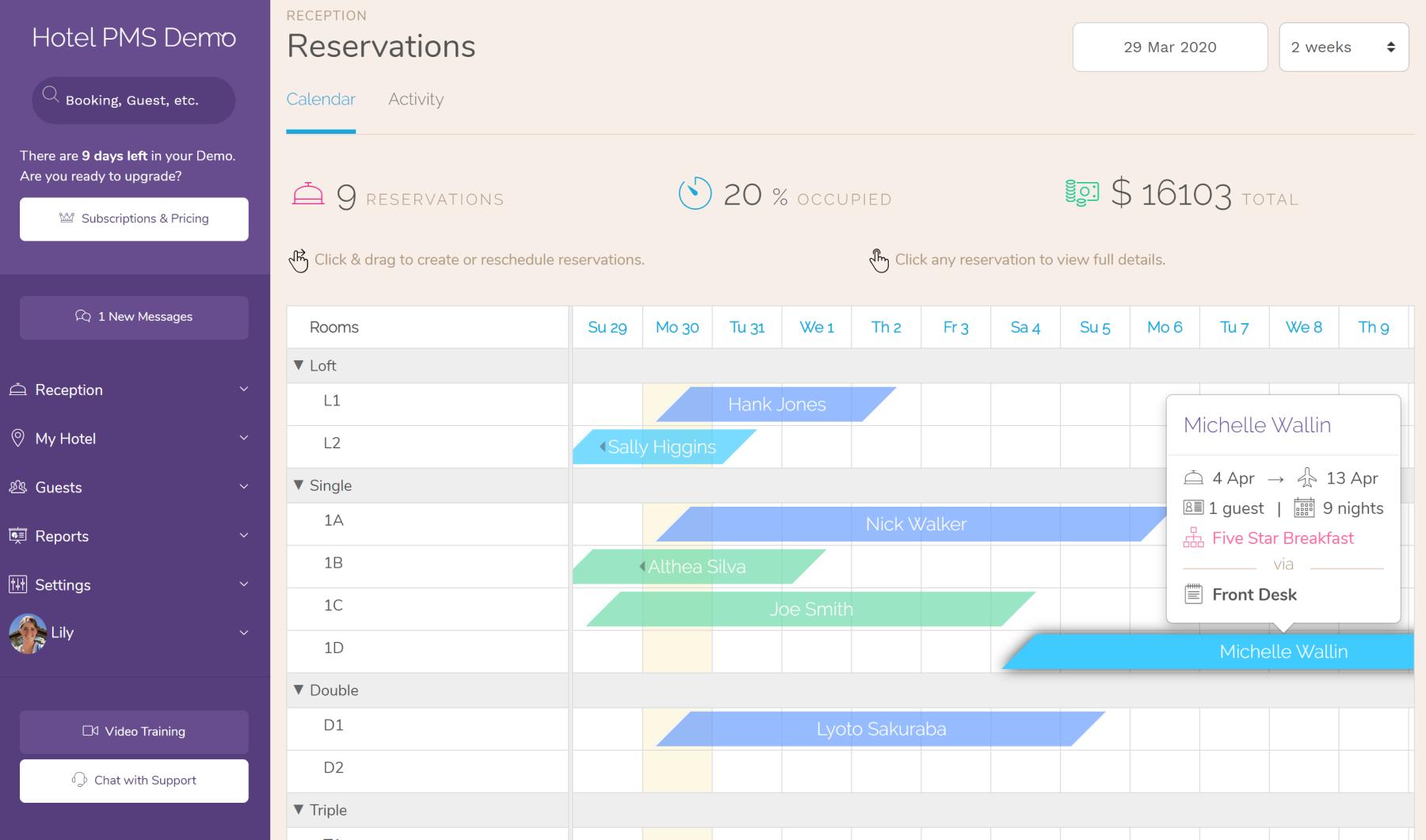 Hotel Room Reservation Calendar.